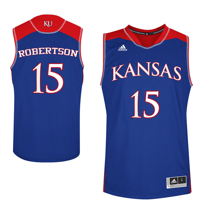 Men Kansas Jayhawks #15 Aisia Robertson College Basketball Jerseys-Royals