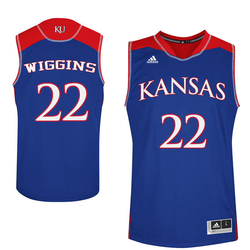 Men Kansas Jayhawks #22 Andrew Wiggins College Basketball Jerseys-Royals