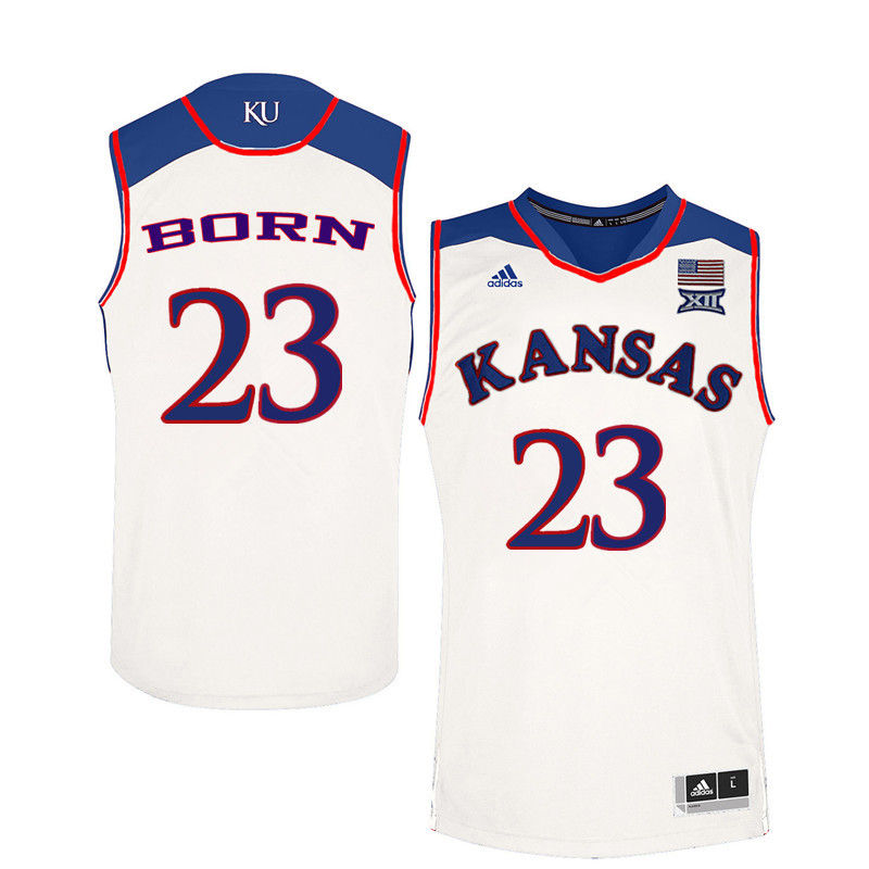 Men Kansas Jayhawks #23 B.H. Born College Basketball Jerseys-White