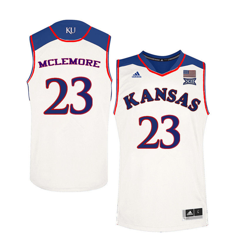 Men Kansas Jayhawks #23 Ben McLemore College Basketball Jerseys-White