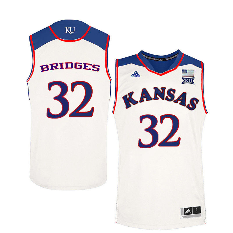 Men Kansas Jayhawks #32 Bill Bridges College Basketball Jerseys-White