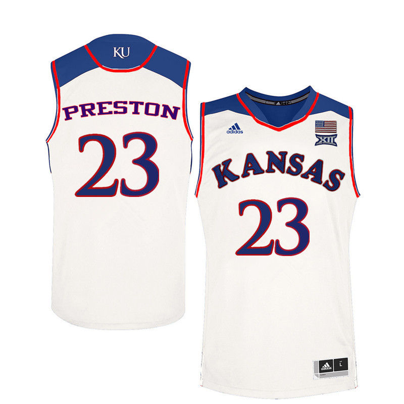 Men Kansas Jayhawks #23 Billy Preston College Basketball Jerseys-White