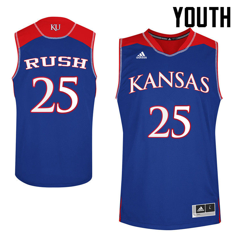 Youth Kansas Jayhawks #25 Brandon Rush College Basketball Jerseys-Royals