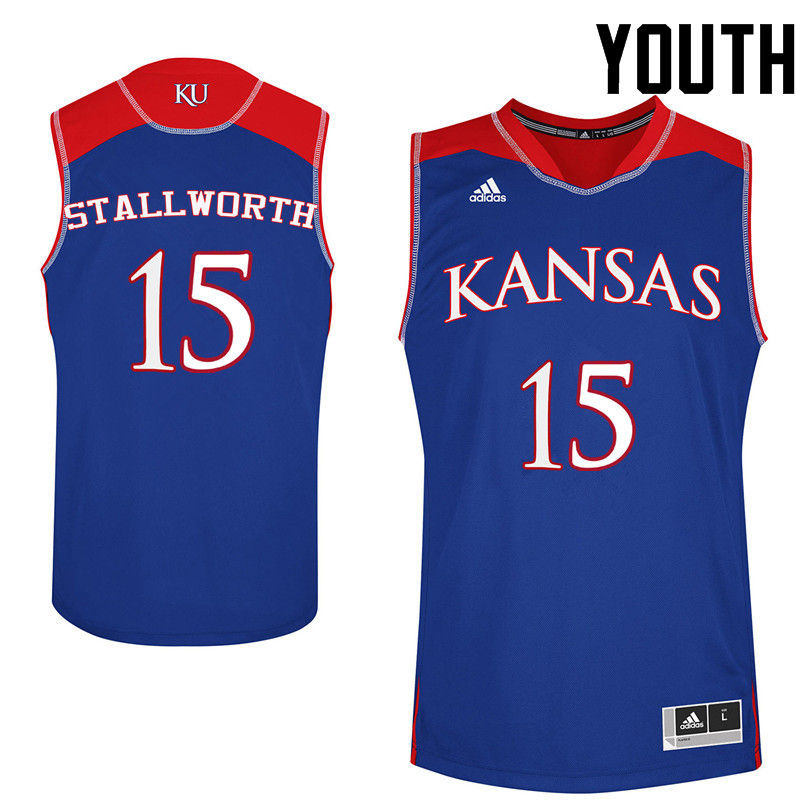 Youth Kansas Jayhawks #15 Bud Stallworth College Basketball Jerseys-Royals