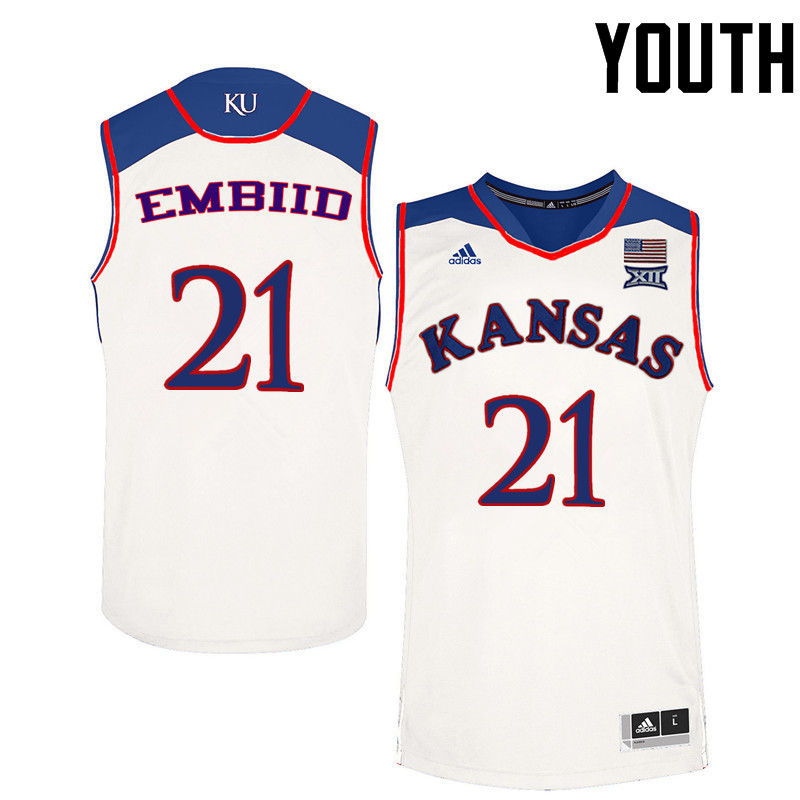 Youth Kansas Jayhawks #21 Joel Embiid College Basketball Jerseys-White