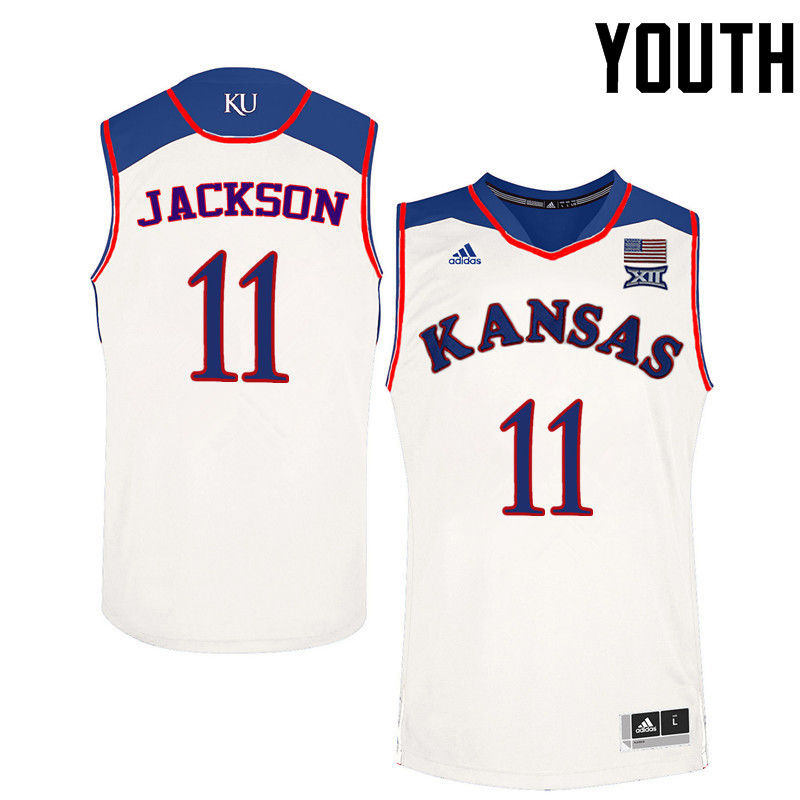 Youth Kansas Jayhawks #11 Josh Jackson College Basketball Jerseys-White