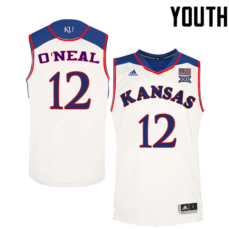 Youth Kansas Jayhawks #12 Timeka ONeal College Basketball Jerseys-White